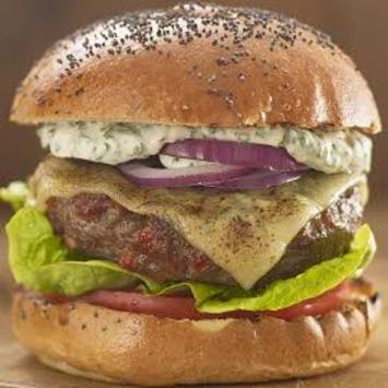 Steak and chorizo burger with chimichurri mayonnaise