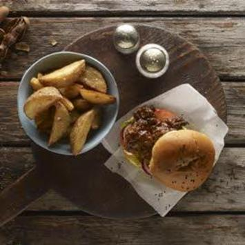Tamarind glazed chicken burger and triple cooked wedges