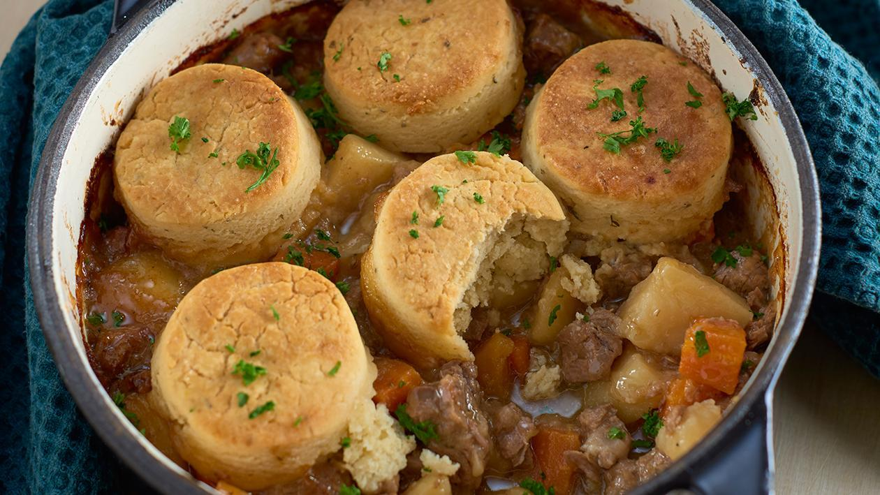 Beef and vegetable casserole with cobbler top – recipe