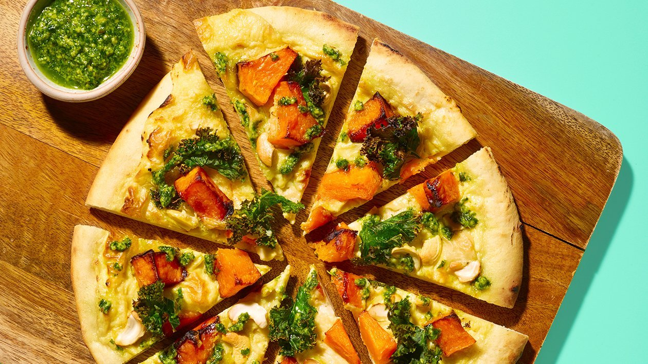 Blonde Pizza - Roasted Squash, Kale Pesto and Cashew – recipe