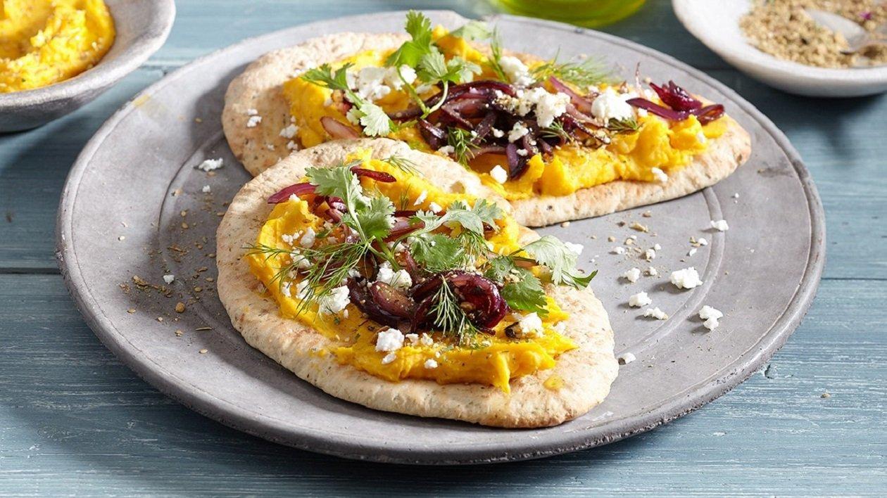 Butternut Hummus, with Khobez, Za'atar and Onion Confit – recipe