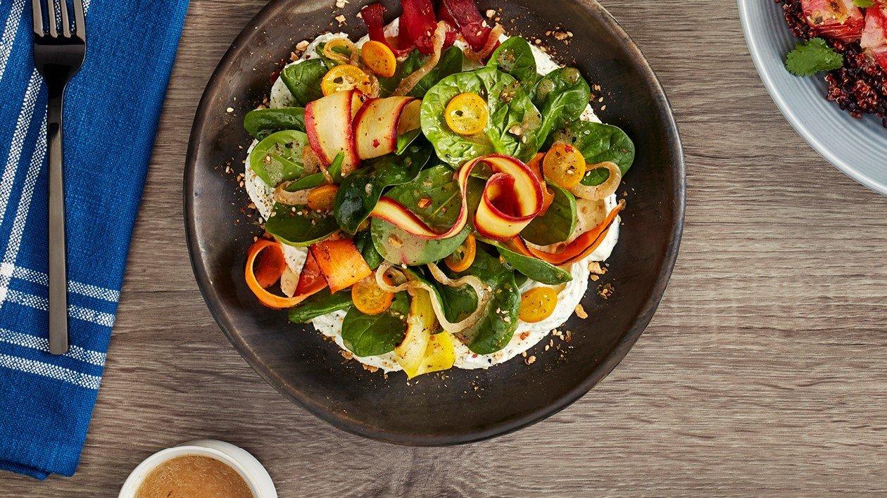 Charred Heritage Carrot Salad, Kumquat, 'cream 'cheese', Za'atar dressing – recipe