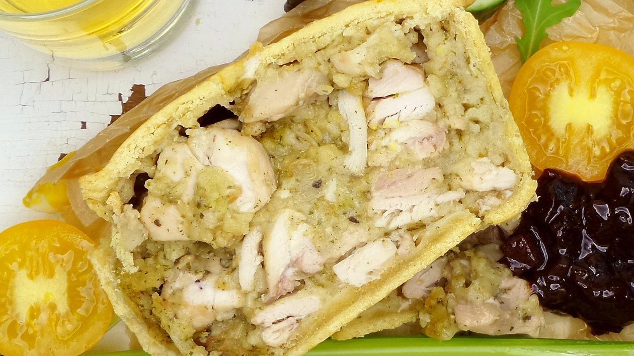 Chicken & stuffing picnic pie – recipe
