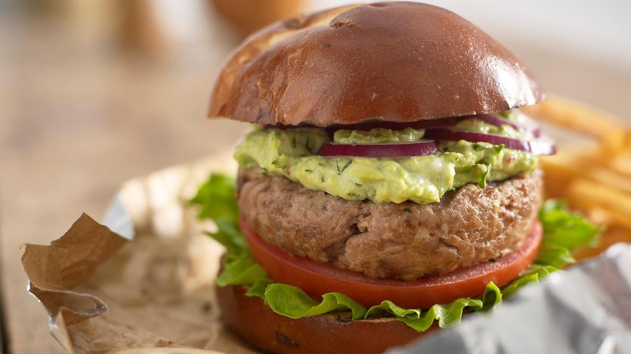 Chipotle pulled pork burger with smashed avocados & chillies  – recipe