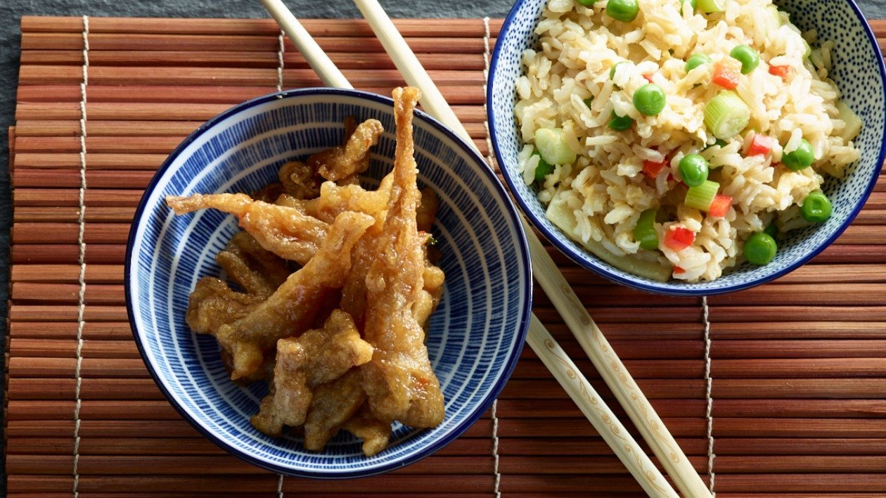 Crispy Sticky Mushrooms with Special Fried Rice – recipe