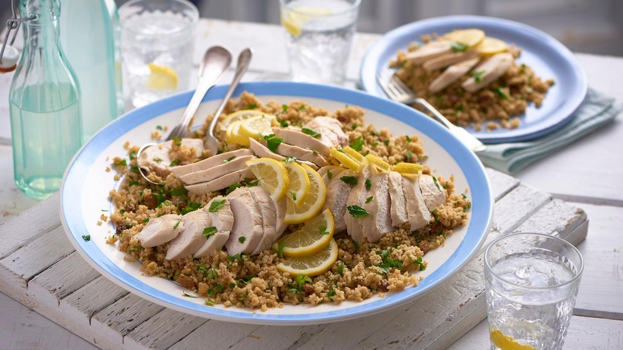 Lemon chicken, cous cous salad with a mustard dressing – recipe