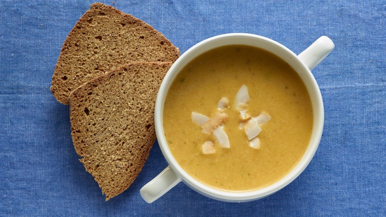 Lightly spiced leek  and coconut soup – recipe