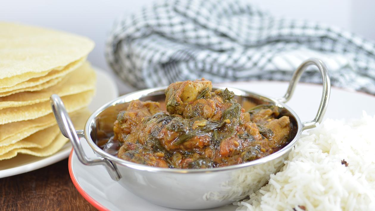 Palok Diye Tikha Murgi Kalia - chicken with spinach – recipe