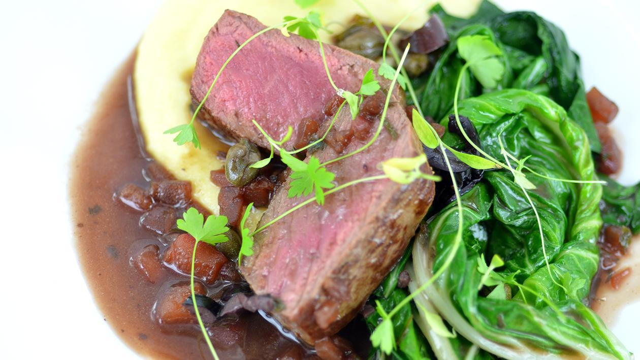 Pan fried lamb with polenta – recipe
