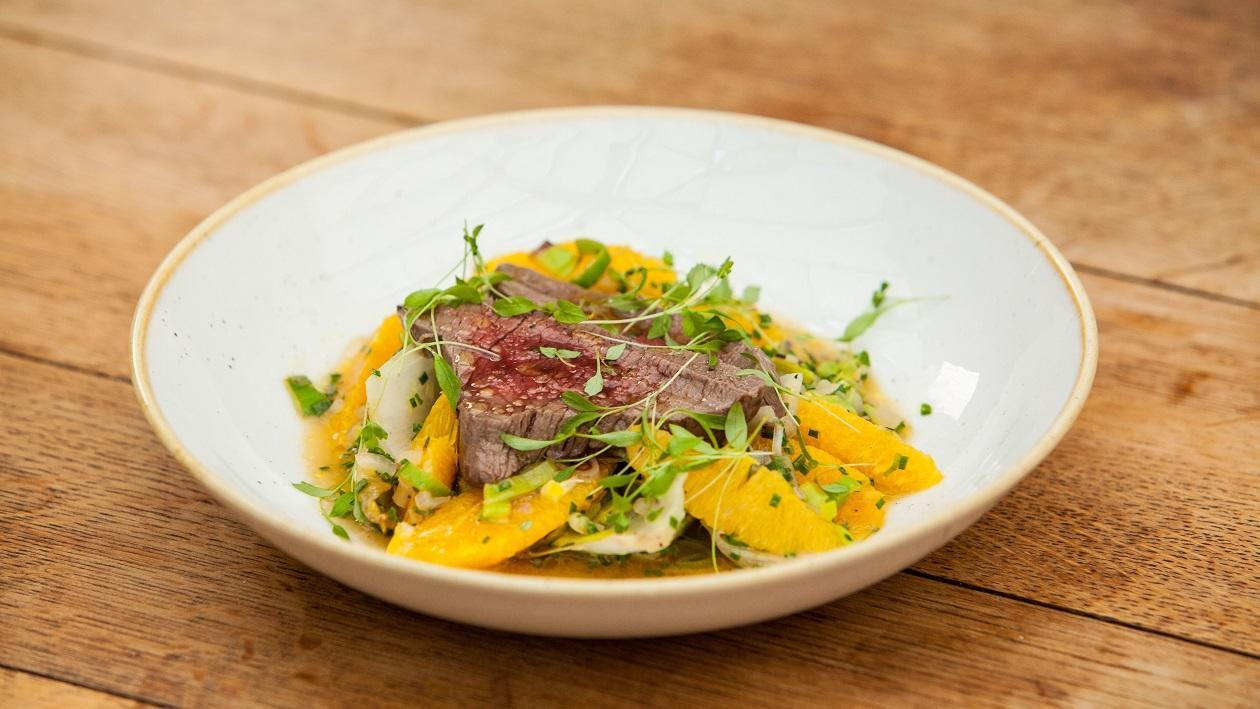 Poached Peppered Venison with a Warm Endive & Orange Salad by Mark Sargeant – recipe