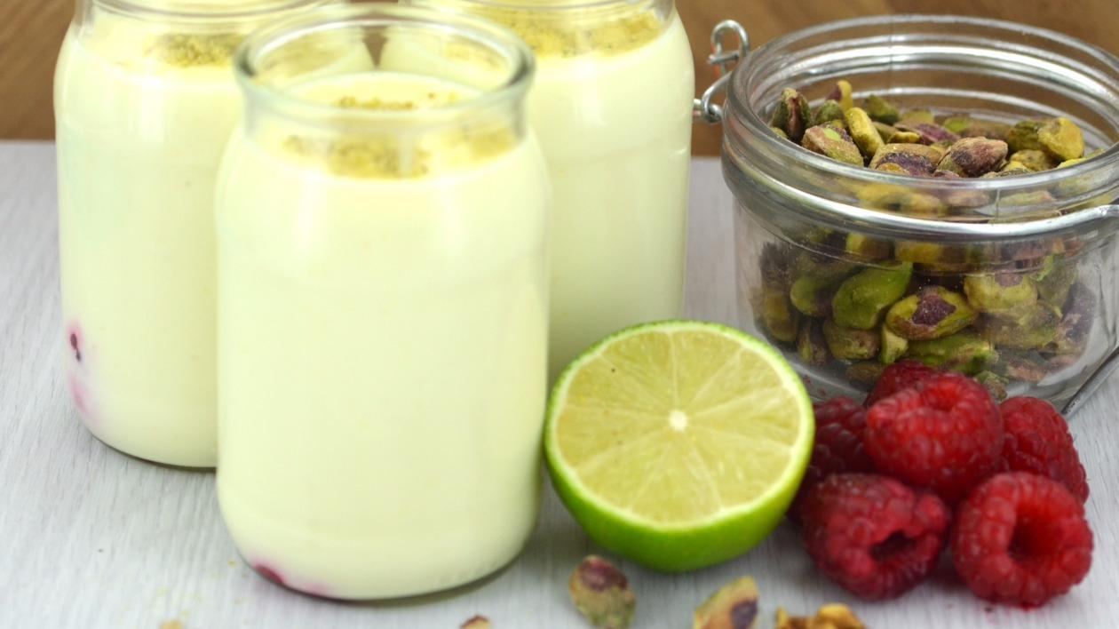 Raspberry lime and pistachio posset – recipe