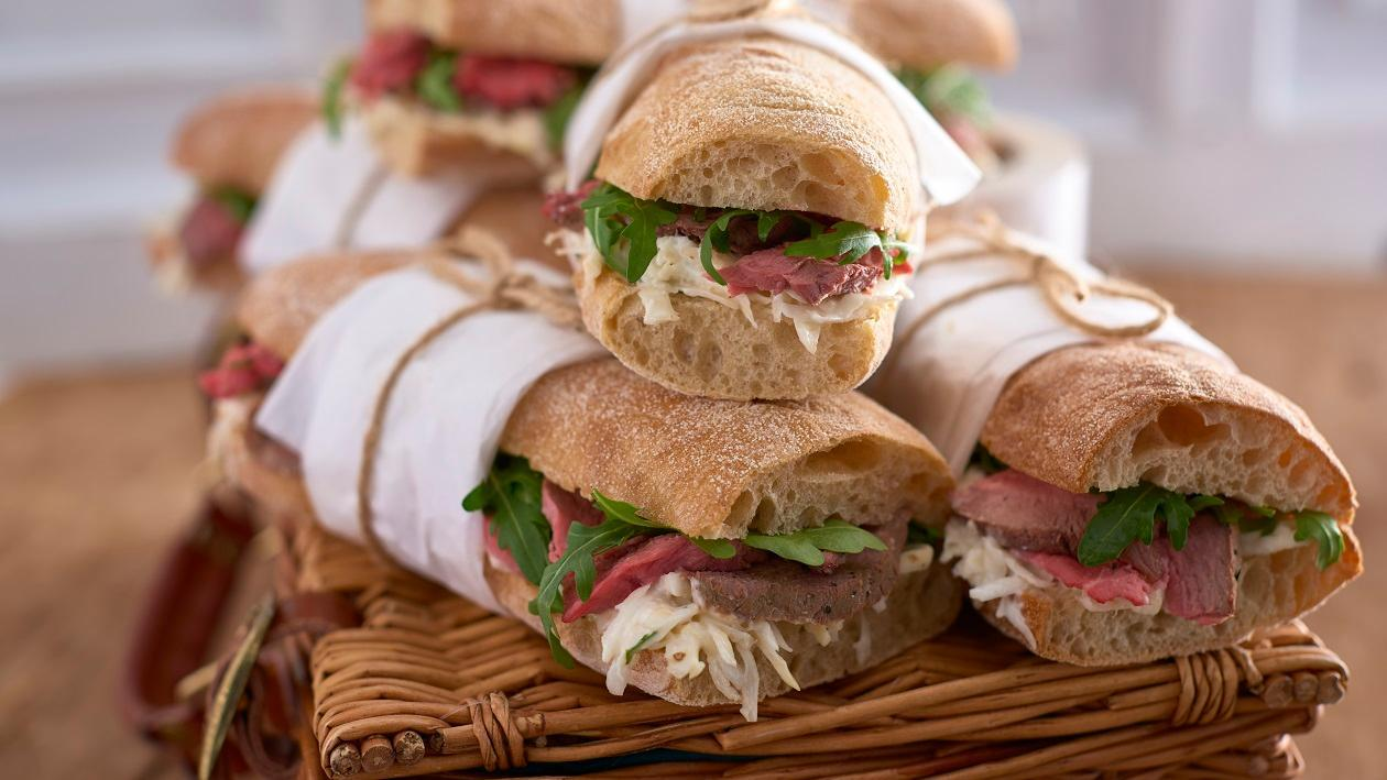 Roast beef ciabatta with celeriac remoulade and rocket – recipe