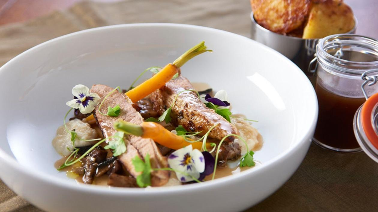 Roasted pheasant with wild mushroom compote and bread sauce by Chris Barber – recipe