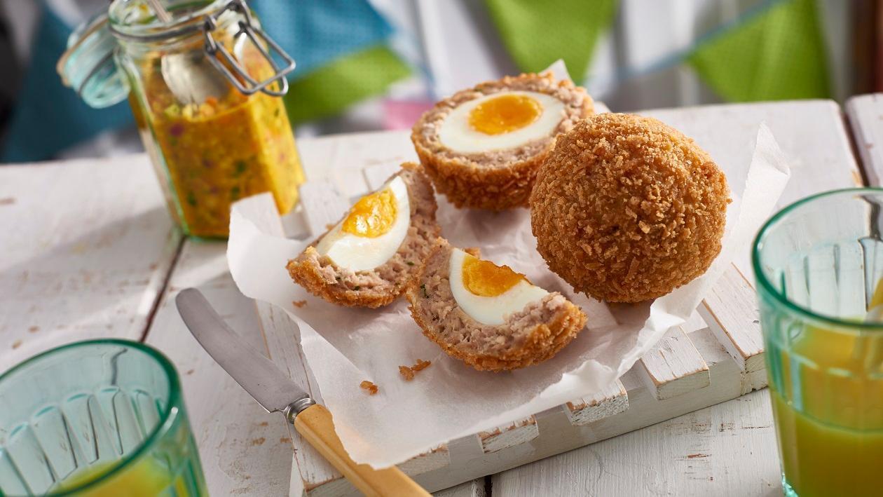 Scotch eggs with piccalilli – recipe