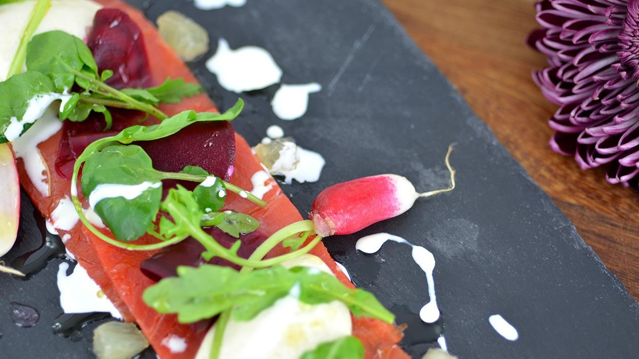 Smoked salmon with pickled beetroot and horseradish panna cotta – recipe