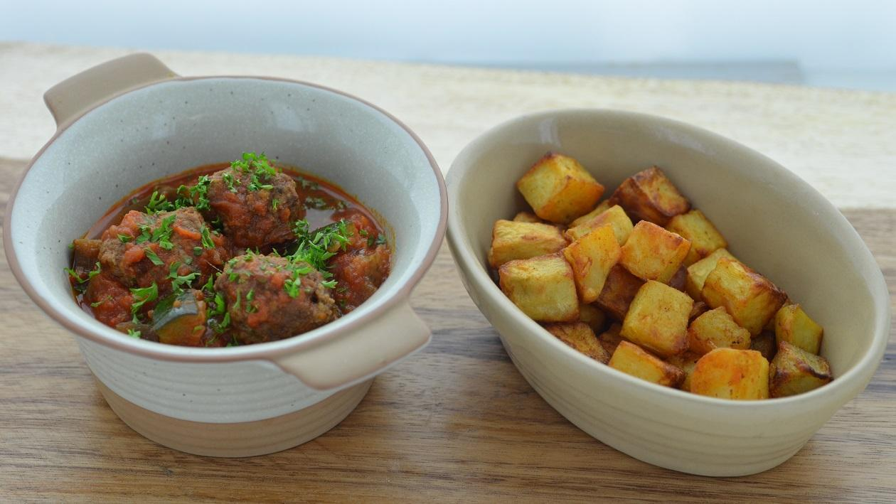 Spanish Meatballs with Roasted Paprika Potatoes – recipe