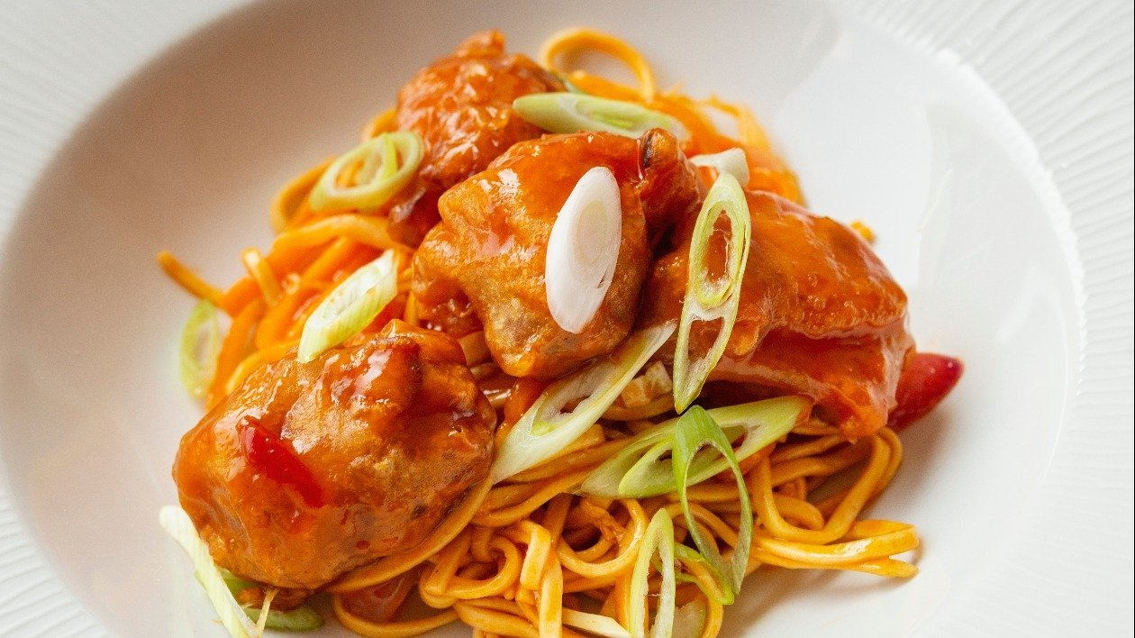Sweet & Sour Chicken Balls  with noodles – recipe