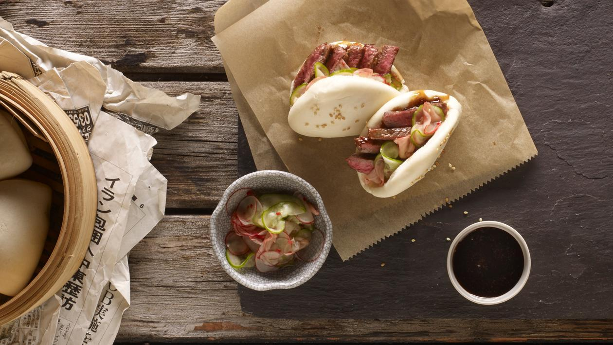 Teriyaki beef buns, cucumber, radish pickles and sticky soy ginger jam – recipe