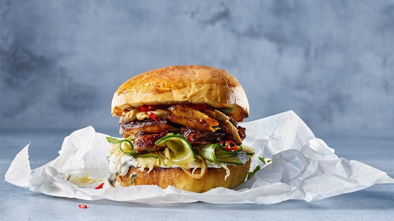 Teriyaki glazed Chicken Burger with cucmber pickle and ginger mayo – recipe