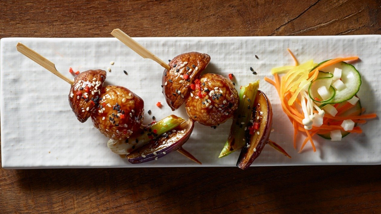 Teriyaki glazed rice & vegetable skewers – recipe