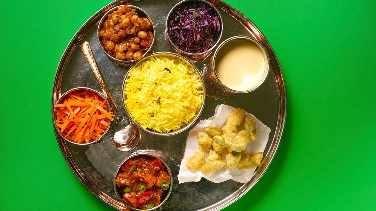 Thali Dish - Squash Balti, Bhindi Pakora, Red cabbage koshimbir – recipe