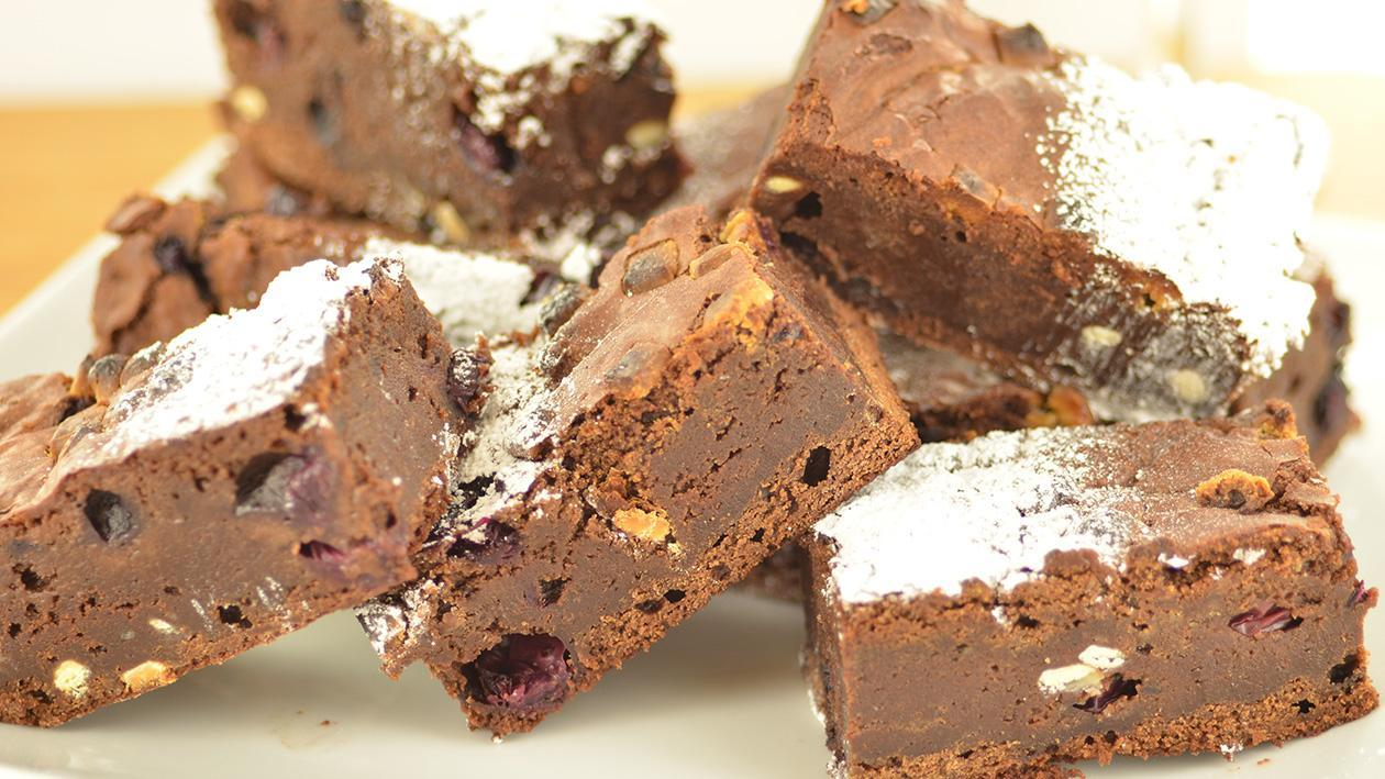 Blueberry and white chocolate brownies