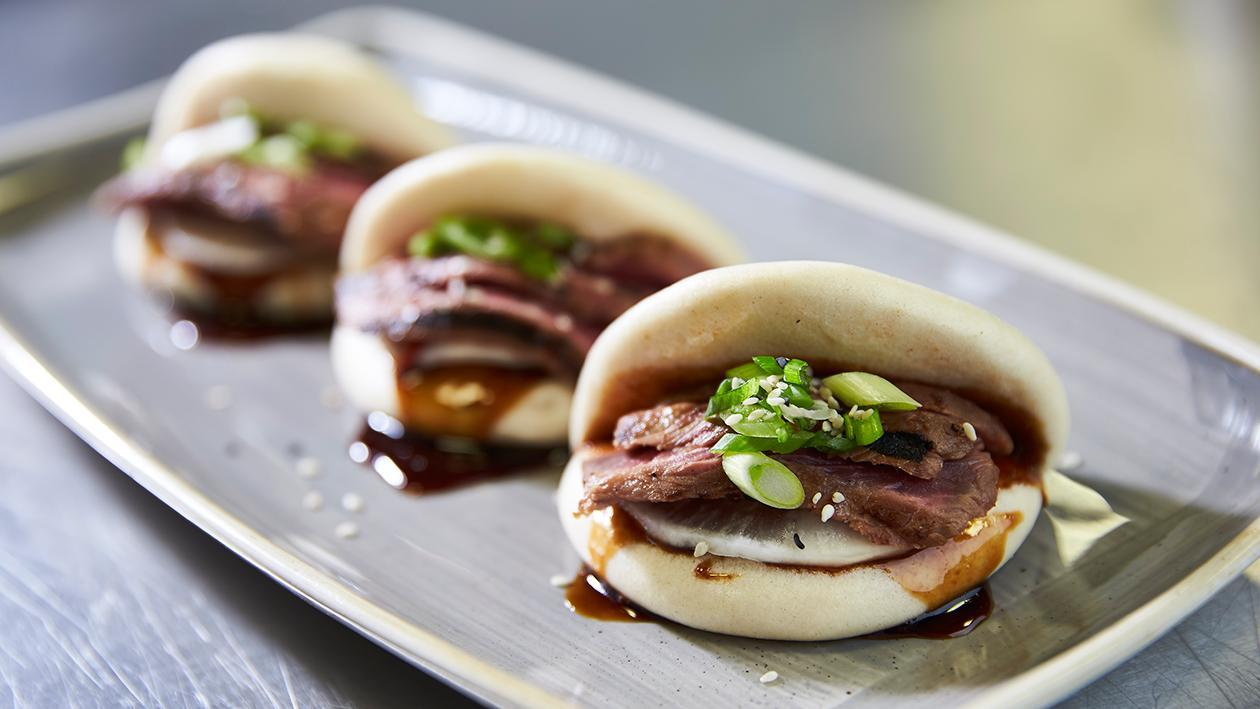 Steam buns with Teriyaki beef, mooli pickle and soy and ginger jam