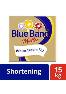 Blue Band Master White Cream Fat 15kg - Blue Band Master White Cream Fat makes buttercream with soft texture and less greasy taste that is preferred by my diners*
