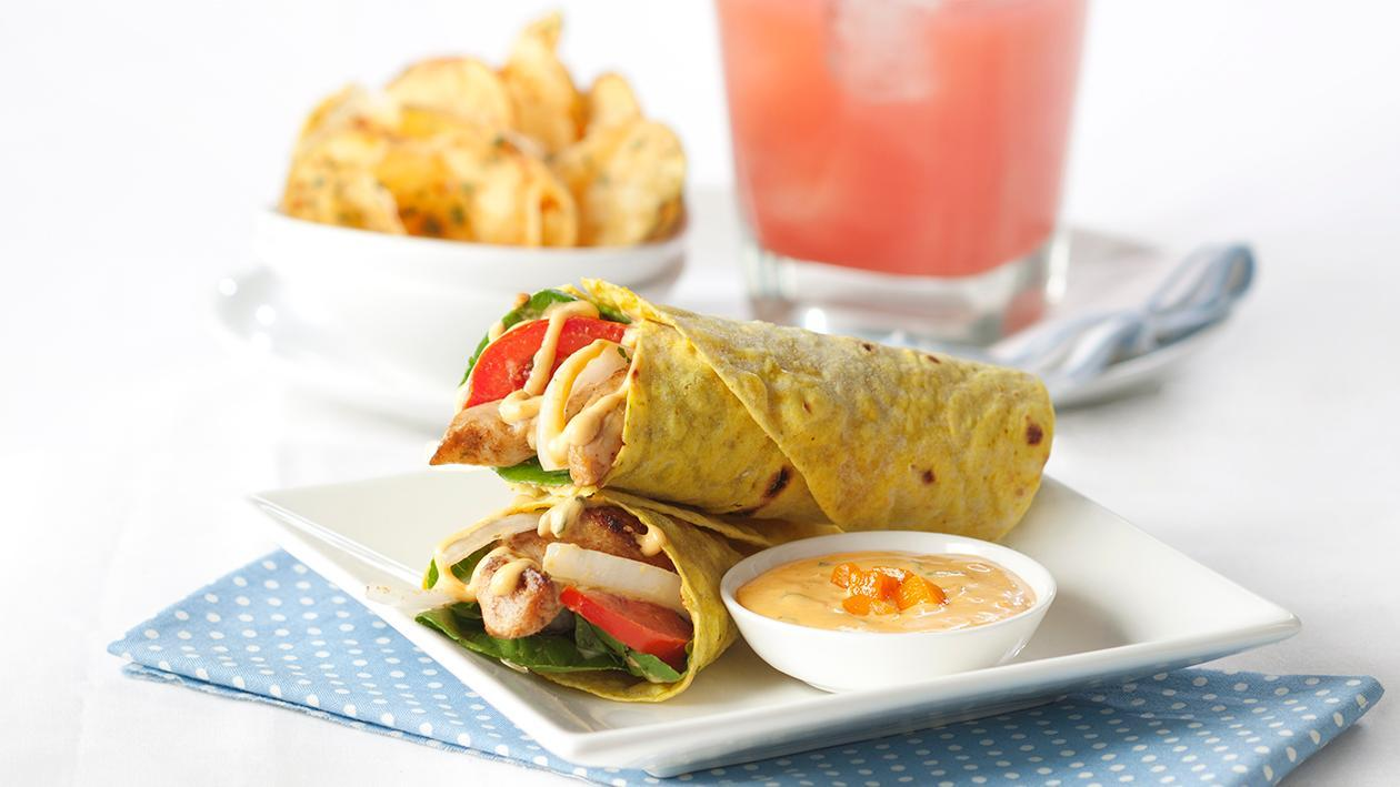 Cajun Chicken Tender Wrap with Mango BBQ Mayonnaise