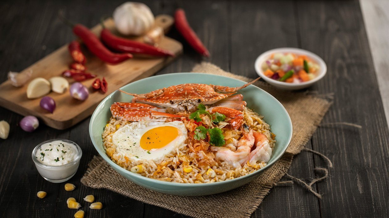 Fried Rice with Flower Crab (Rajungan)