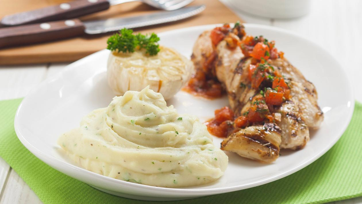 Grilled Chicken with Roasted Garlic and Herbs Mashed Potato