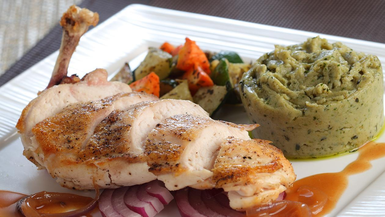 Roasted Chicken Pesto Mashed Potato Red Onion Gravy
