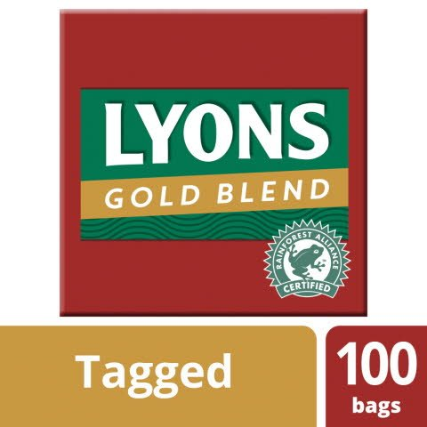 Lyons Gold Blend 100 Tagged Tea Bags -