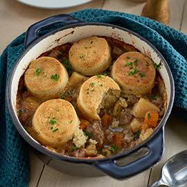 Beef and vegetable casserole with cobbler top