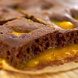 School baking - chocolate puddle pudding with mandarin puree