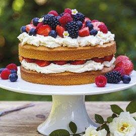 Summer berry naked cake