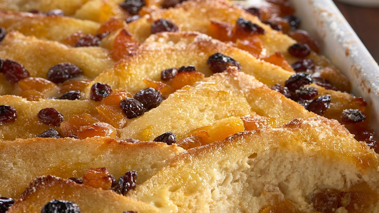 Apricot bread & butter pudding with cinnamon custard