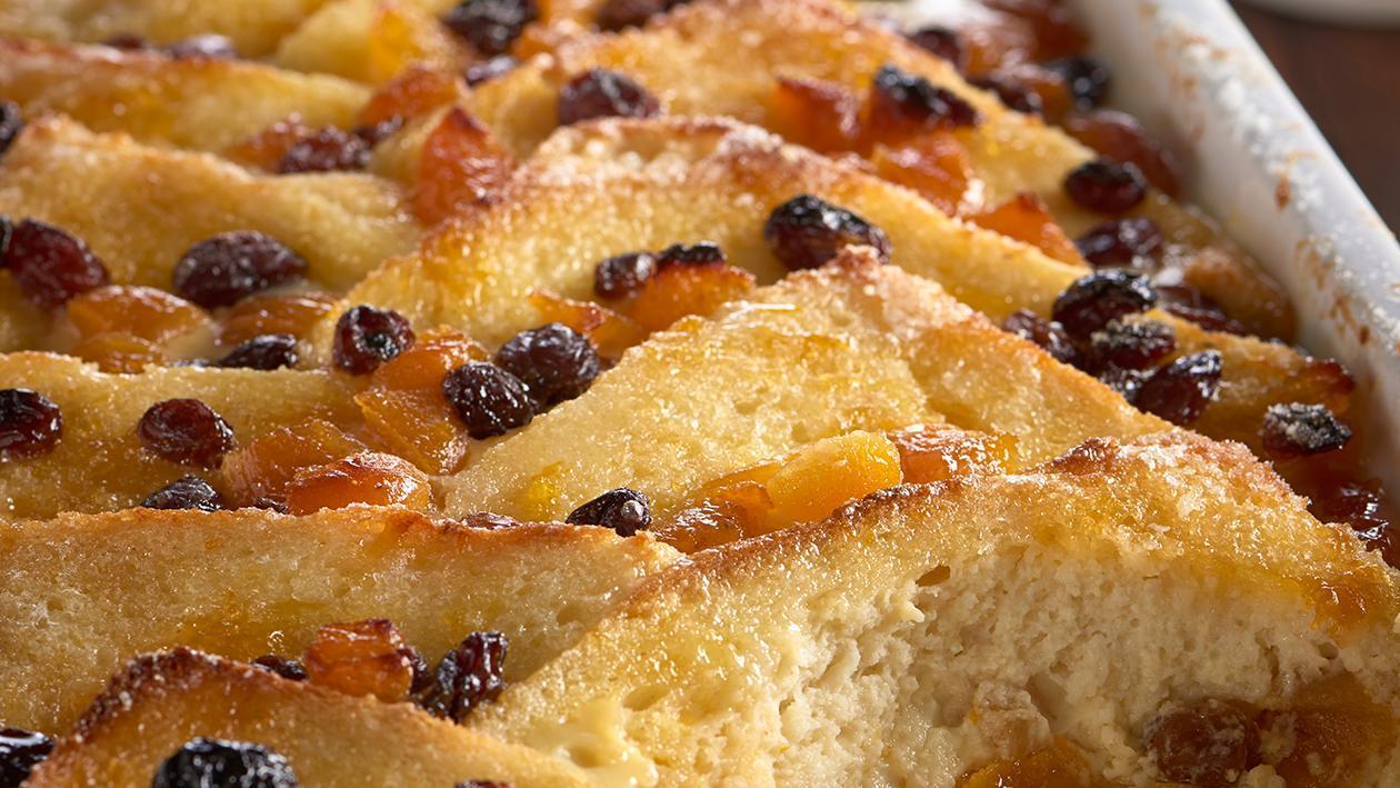 Apricot bread & butter pudding with cinnamon custard