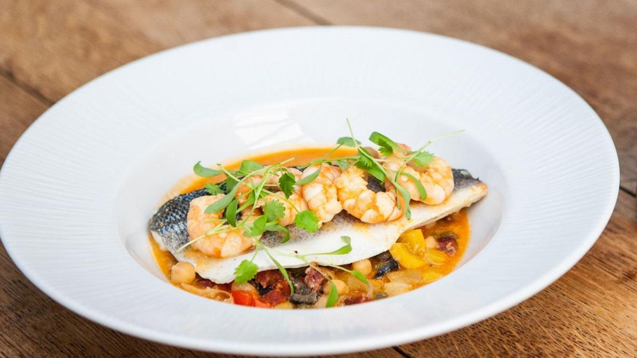 Baked Seabass with Harissa & Chickpeas by Mark Sargeant