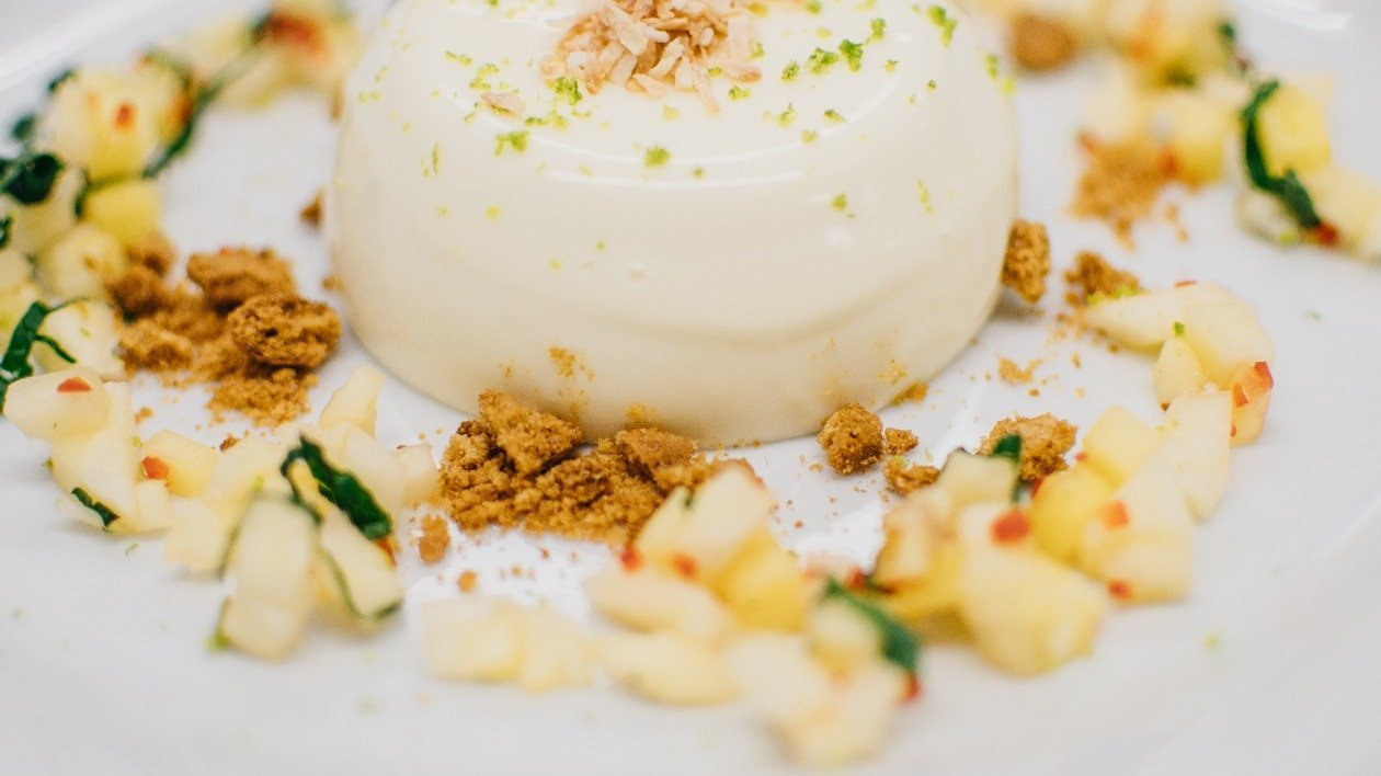 Coconut panna cotta with a pineapple chilli salsa