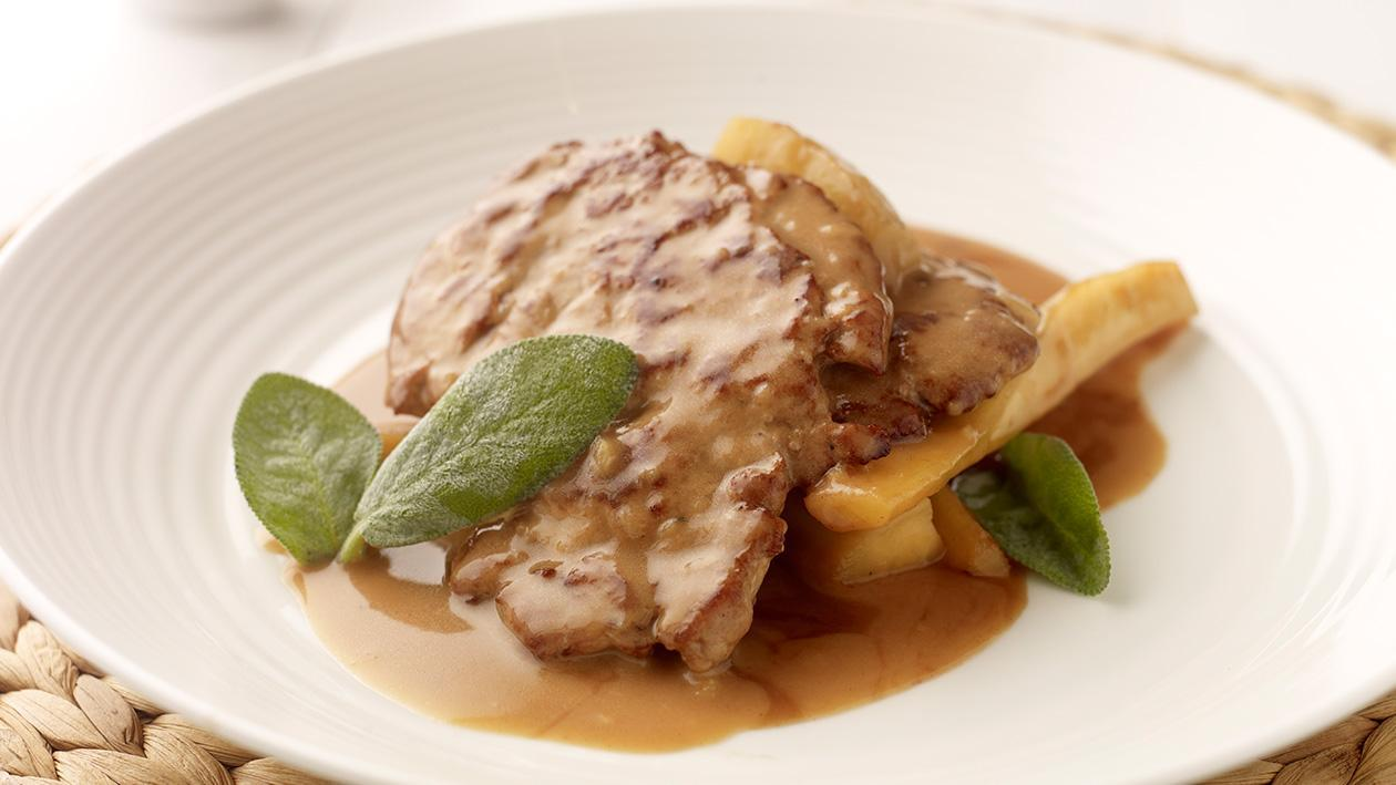 Escalope of Pork fillet with apple and calvados and roasted parsnips (Gluten free)