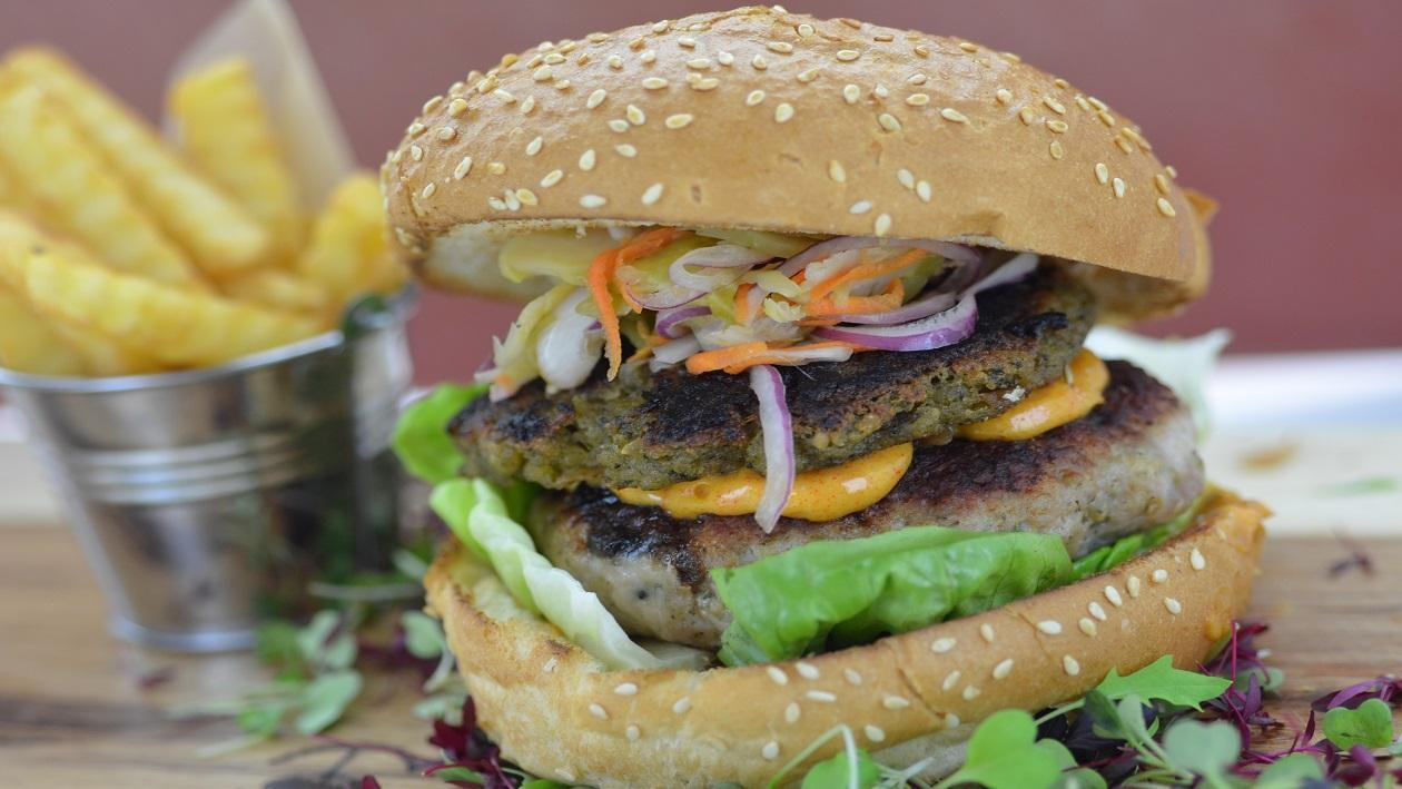 Festive burger with brussel sprout relish