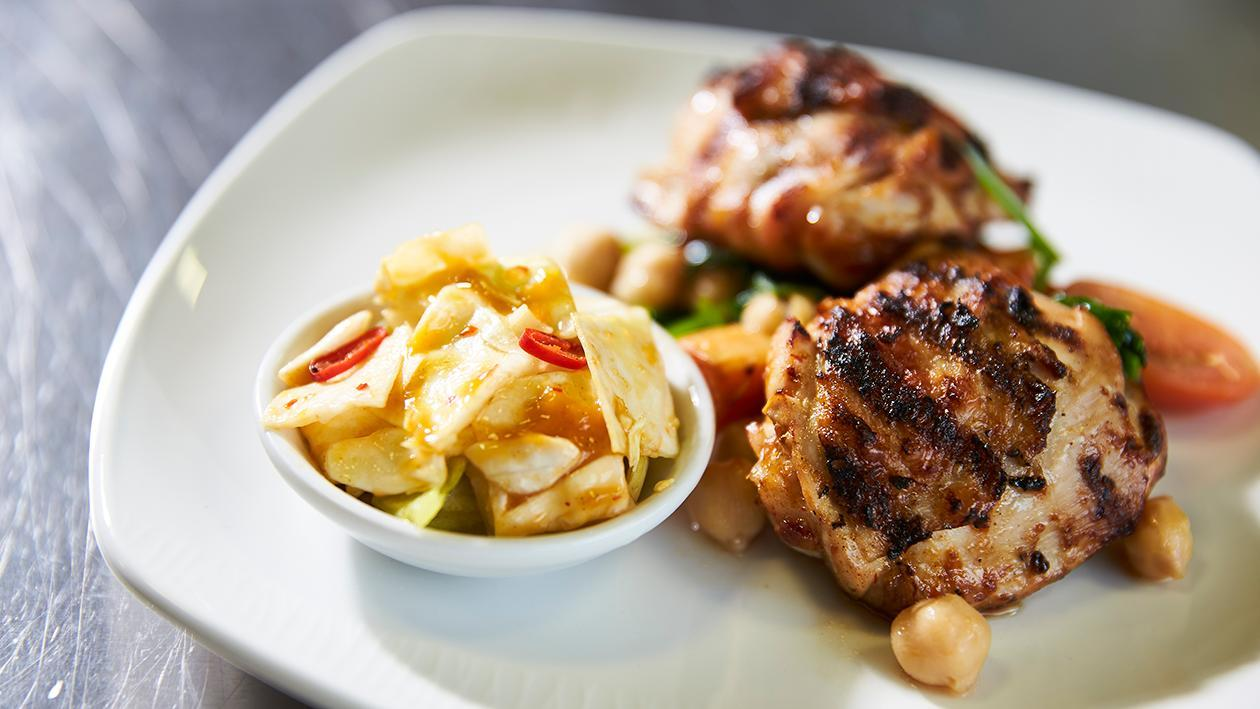 Grilled Piri Piri chicken with sweet potato, chick pea and baby spinach