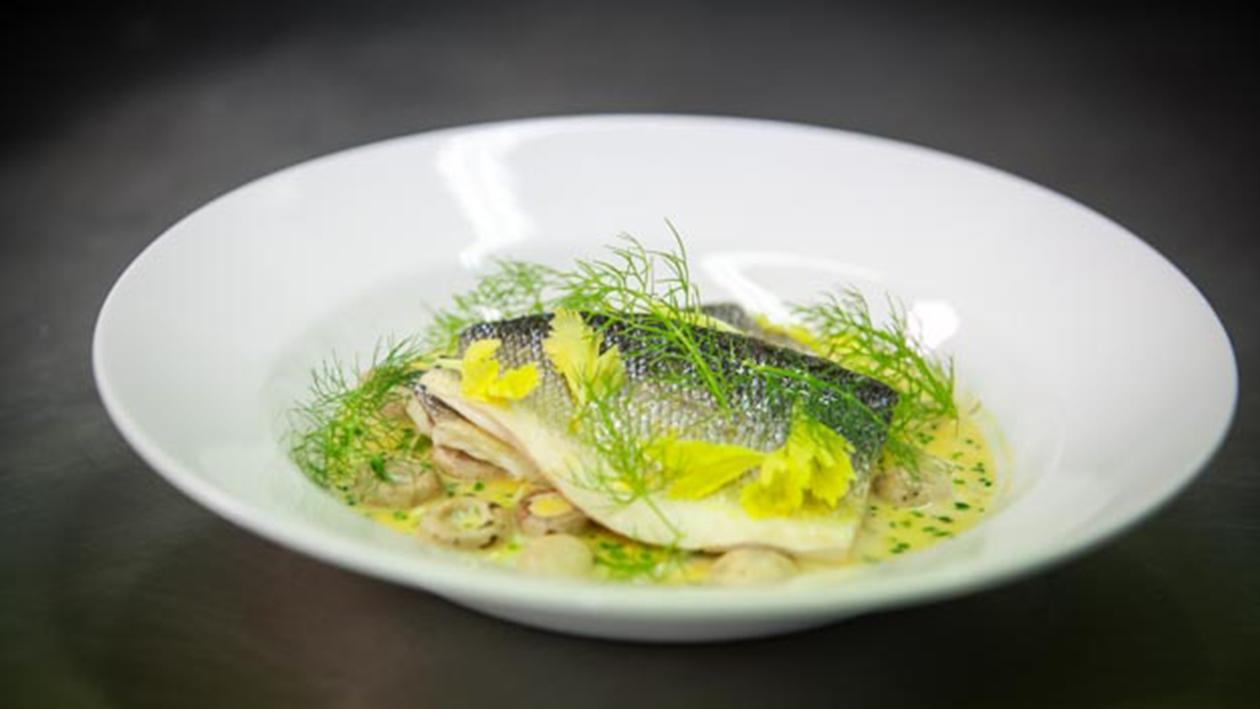 Pan fried sea bass with lemon and chive sauce