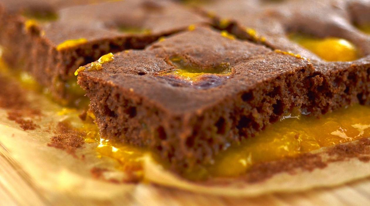 School baking - chocolate puddle pudding with mandarin puree