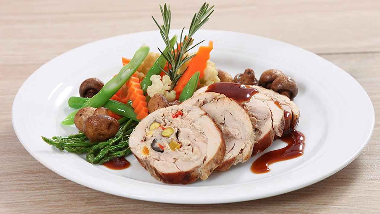 Apricots and Pistachio Stuffed Turkey Roulade