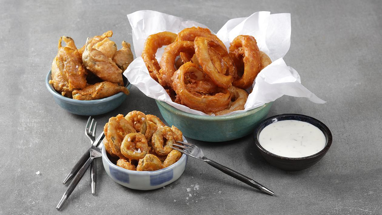 Batter Fried Onions & Jalapeño with Mint Dip