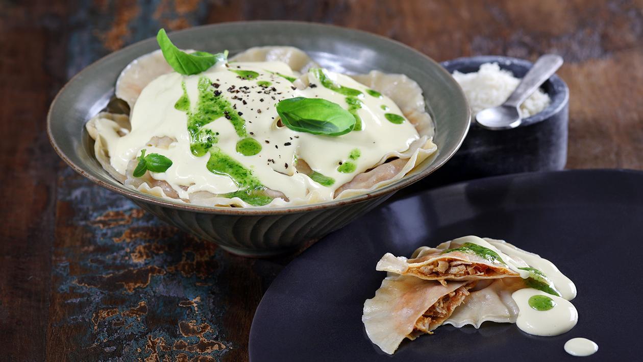 Chicken Curry Raviolis with Coriander Pesto