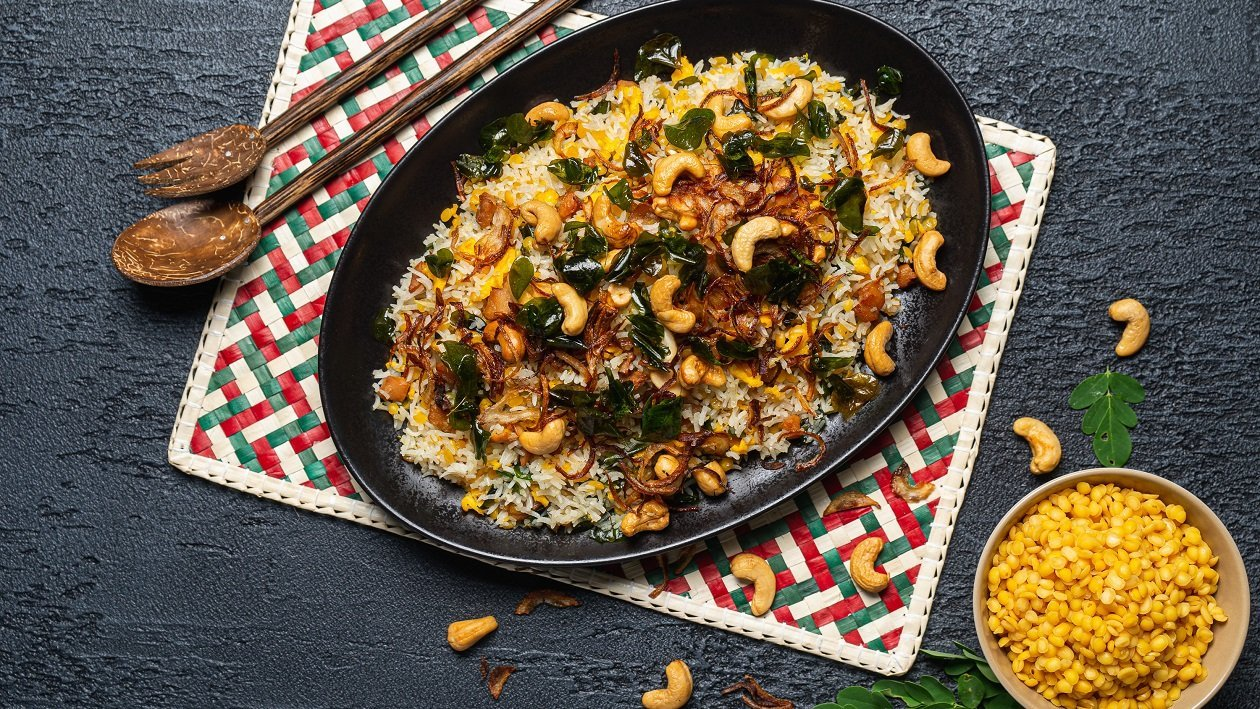 Chicken, Lentils and Moringa leaves Fried Rice