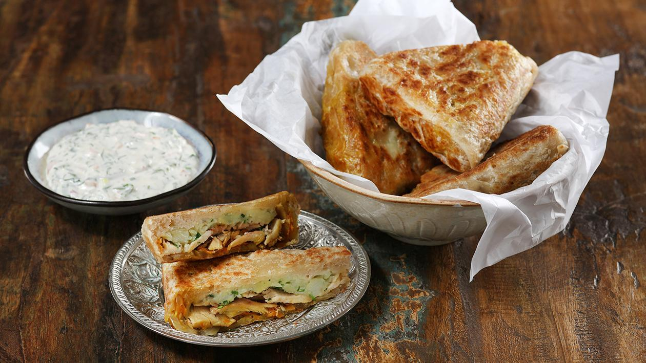 Chicken Roti with Coriander Garlic Mayo